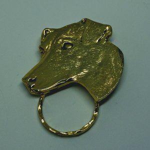 VTG Gold Dog Mom Jack Russell 80s Pin Brooch